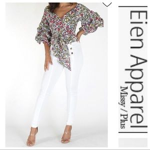 Eien Floral Fashion top with Belt